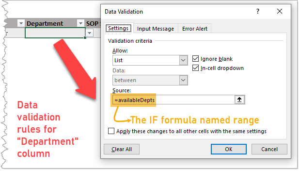 Data validation rule for department column