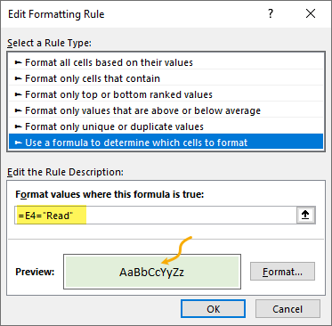 """conditional formatting rule to highlight """"Read"""" values"""