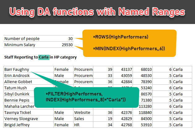 Using Dynamic Array functions with named ranges - demo
