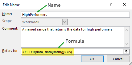 creating a named range with FILTER function