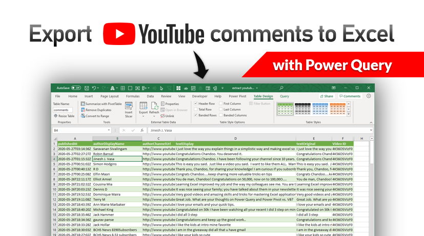 How to export YouTube video comments to Excel file? – Free template + Power Query case study