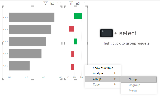Grouping visuals in Power BI