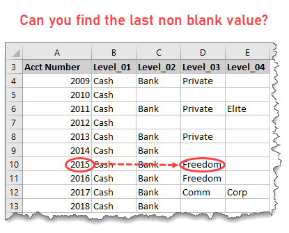 Lookup last non blank value – Excel Challenge