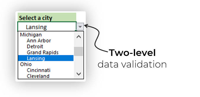 two level data validation drop down excel