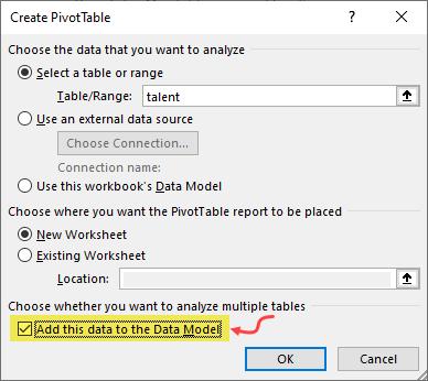 data model option in pivot tables