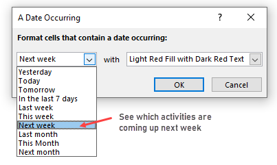 relative dates cf rule