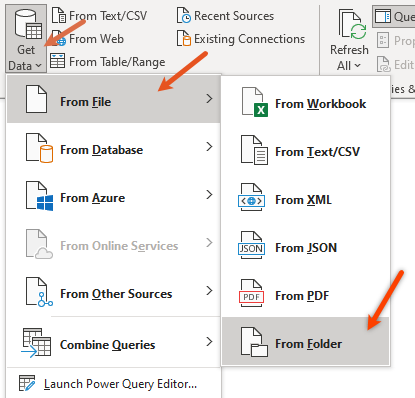 from folder option - get data - power query - excel