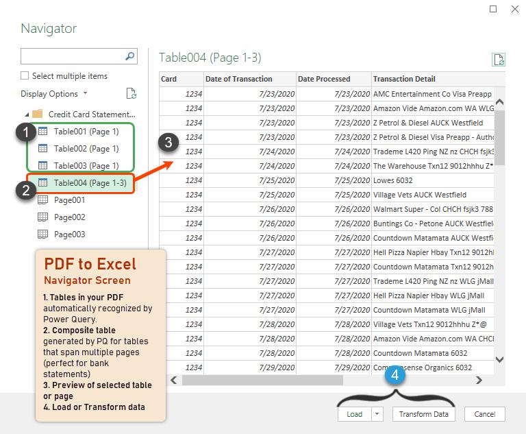 navigator screen for pdf - power query