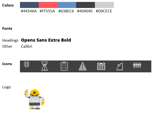 colors-fonts-icons used in the project management dashboard
