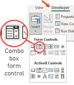 combo box form control is perfect for showing choices in dashboards