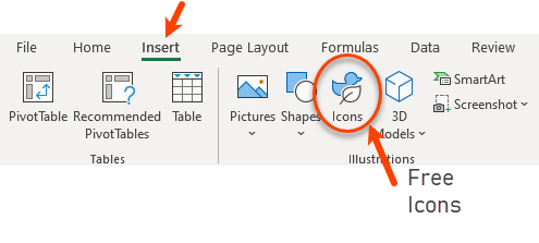 Get free icons in Excel 365